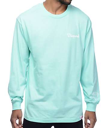 Diamond Supply Co. Champagne camiseta de manga larga en color menta