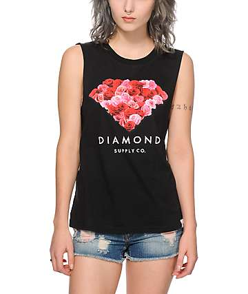 Diamond Supply Co. Cut Rose Muscle Tank Top