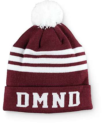 Diamond Supply Co. DMND Burgundy & White Stripe Beanie
