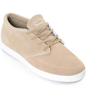 Diamond Supply Co. Deck Sand & White Suede Skate Shoes