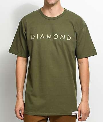 Diamond Supply Co. Desert Logo camiseta en verde olivo