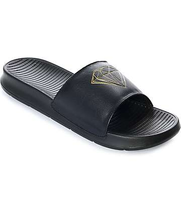 Diamond Supply Co. Diamond Fairfax Black & Gold Slide Sandals