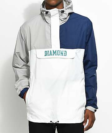 Diamond Supply Co. Drexel chaqueta anorak en azul, blanco y gris