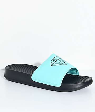 Diamond Supply Co. Fairfax Black & Diamond Blue Slide Sandals
