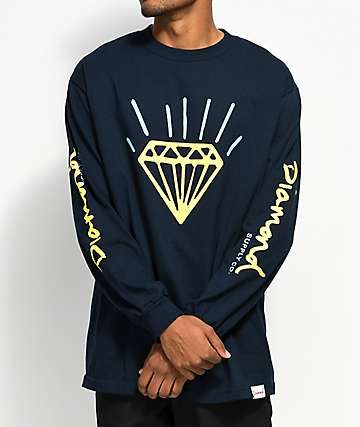 Diamond Supply Co. Gem Navy & Yellow Long Sleeve T-Shirt