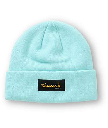 Diamond Supply Co. Gold Foil Blue Beanie