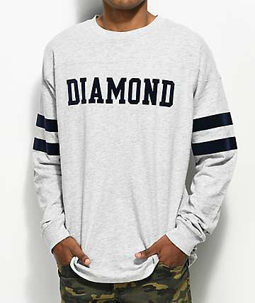Diamond Supply Co. Grey Long Sleeve Football T-Shirt