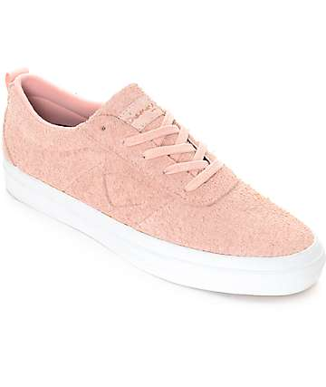 Diamond Supply Co. Icon Pink & White Hairy Suede Skate Shoes