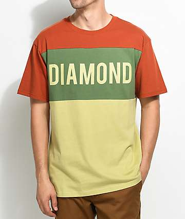 Diamond Supply Co. Jeweler camiseta en colores crema, verde olivo y naranja