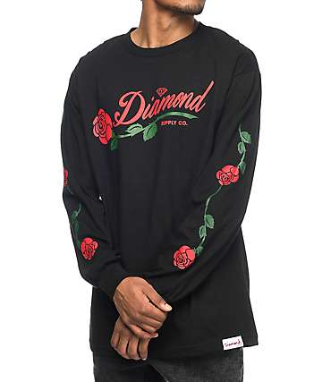 Diamond Supply Co. LA Rose camiseta negra de manga larga