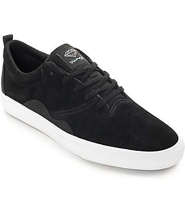 Diamond Supply Co. Lafayette Black & White Suede Skate Shoes