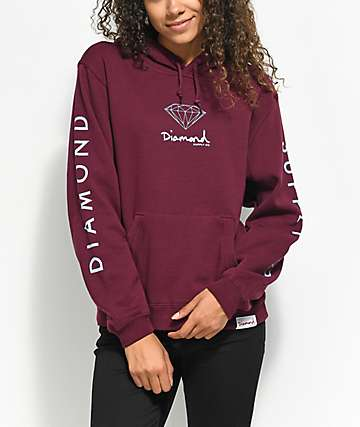 Diamond Supply Co. Mini OG Sign Burgundy Hoodie