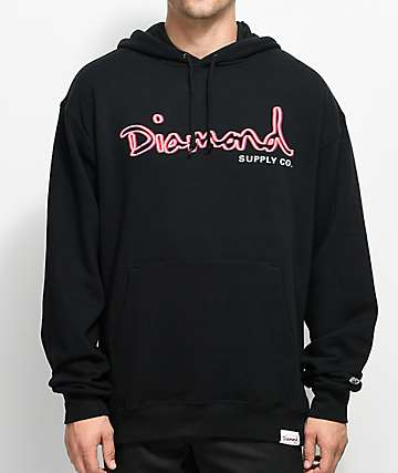 Diamond Supply Co. Neon OG Script Black Hoodie