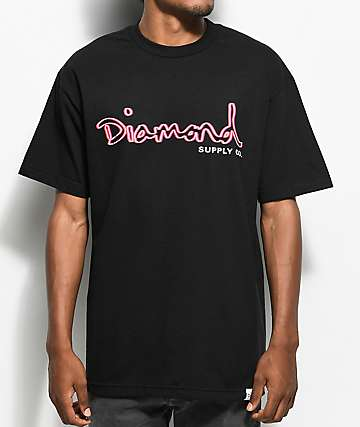 Diamond Supply Co. Neon OG Script Black T-Shirt