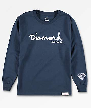 Diamond Supply Co. OG Brilliant camiseta de manga larga en azul marino para niños