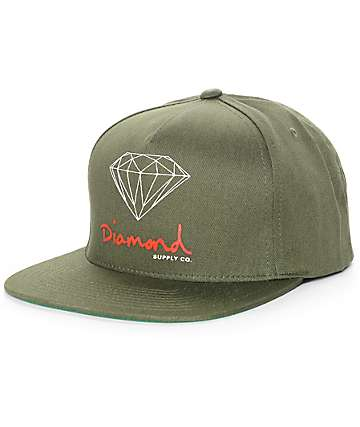 Diamond Supply Co. OG Logo Olive Snapback Hat