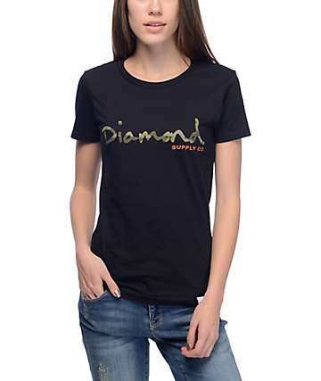 Diamond Supply Co. OG Script Black & Camo T-Shirt