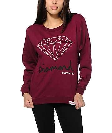 Diamond Supply Co. OG Script Burgundy Crew Neck Sweatshirt