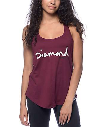 Diamond Supply Co. OG Script Burgundy Tank Top