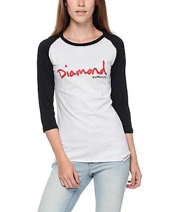 Diamond Supply Co. OG Script White & Black Baseball T-Shirt