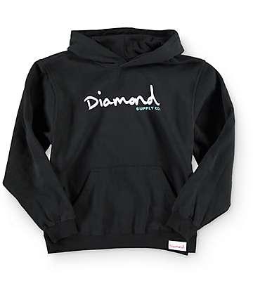Diamond Supply Co. OG Script sudadera con capucha negra (niño)
