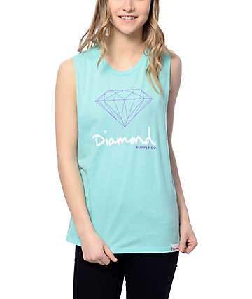 Diamond Supply Co. OG Sign Aqua Muscle Tank Top