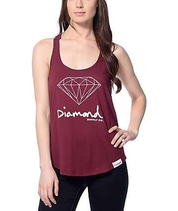 Diamond Supply Co. OG Sign Burgundy Tank Top