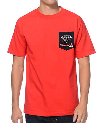 Diamond Supply Co. OG Sign Red Pocket T-Shirt