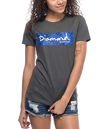 Diamond Supply Co. Radiant Box Logo Grey & Blue T-Shirt