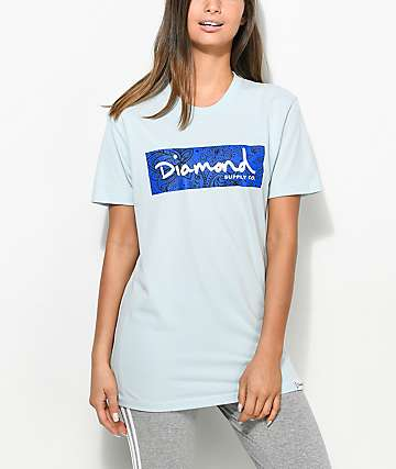 Diamond Supply Co. Radiant Box Logo Light Blue T-Shirt