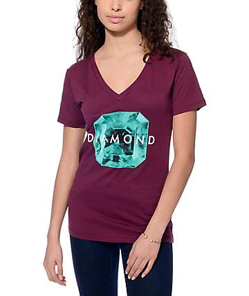 Diamond Supply Co. Rare Gem Burgundy V-Neck T-Shirt