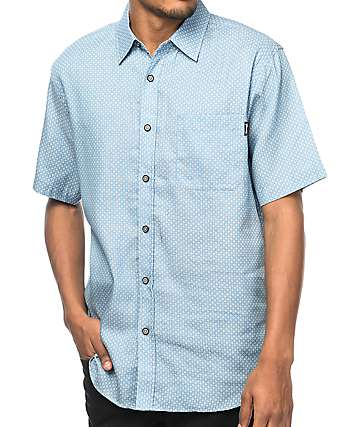 Diamond Supply Co. Repeat Light Blue Woven Button Up Shirt