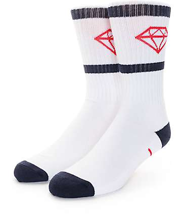 Diamond Supply Co. Rock Sport White, Red & Navy Crew Socks