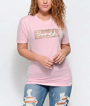 Diamond Supply Co. Rosary Box Logo Light Pink T-Shirt