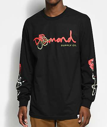 Diamond Supply Co. Snake OG camiseta negra de manga larga