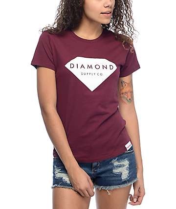 Diamond Supply Co. Solid Stone Burgundy & White T-Shirt