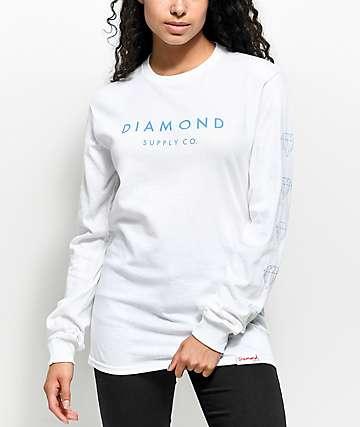 Diamond Supply Co. Stone Cut camiseta blanca de manga larga