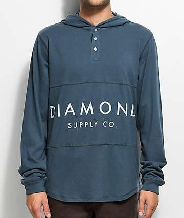 Diamond Supply Co. Stone Cut camiseta henley en azul marino con capucha