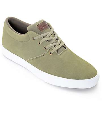 Diamond Supply Co. Torey Olive & White Suede Skate Shoes