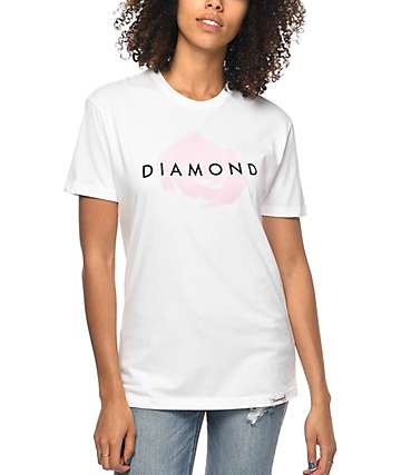 Diamond Supply Co. White Rose Boyfriend T-Shirt