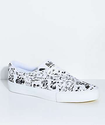Diamond Supply Co. x The Beatles Avenue White & Black Skate Shoes