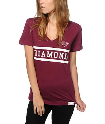 Diamond Supply Collegiate Burgundy V-Neck T-Shirt