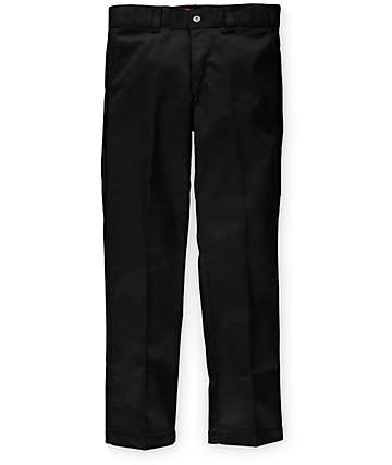 Dickies Slim Fit Flat Front Black Work Pants