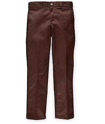 Dickies Slim Fit Flat Front Chocolate Work Pants