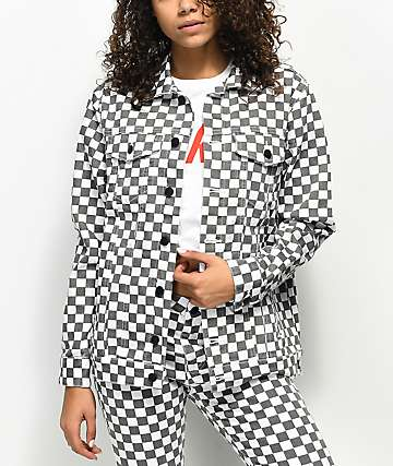 Dickies White & Black Checkered Denim Jacket