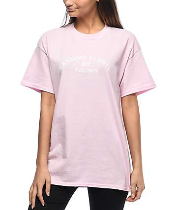 Dimepiece Catching Flights Light Pink Boyfriend T-Shirt