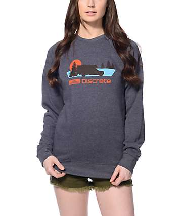 Discrete Roam Heather Blue Crew Neck Sweatshirt