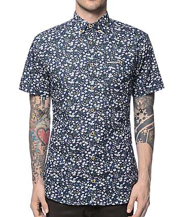 Disidual Flower Blue Button Up Shirt