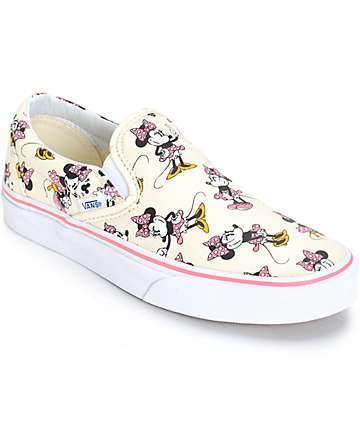 Disney x Vans Classic Minnie Slip-On Shoes (Womens)