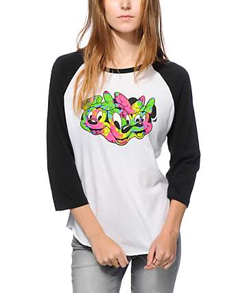 Distorted Mickey Collection By Neff Minnie Tie Dye Baseball Tee
